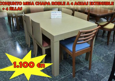 Chapa roble extensible a 4 aguas
